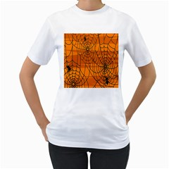 Vector Seamless Pattern With Spider Web On Orange Women s T Shirt (white) (two Sided)