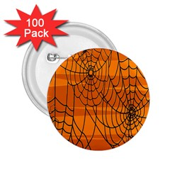 Vector Seamless Pattern With Spider Web On Orange 2.25  Buttons (100 pack)