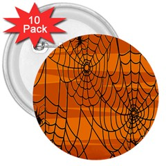 Vector Seamless Pattern With Spider Web On Orange 3  Buttons (10 pack)