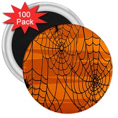 Vector Seamless Pattern With Spider Web On Orange 3  Magnets (100 pack)