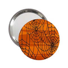 Vector Seamless Pattern With Spider Web On Orange 2 25  Handbag Mirrors
