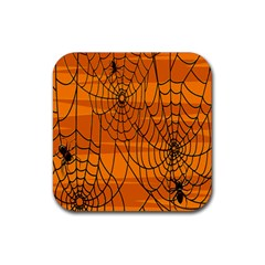 Vector Seamless Pattern With Spider Web On Orange Rubber Square Coaster (4 pack)