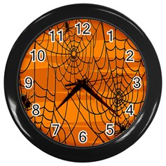 Vector Seamless Pattern With Spider Web On Orange Wall Clocks (Black)