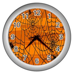 Vector Seamless Pattern With Spider Web On Orange Wall Clocks (silver)