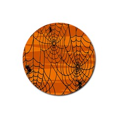 Vector Seamless Pattern With Spider Web On Orange Rubber Round Coaster (4 Pack)