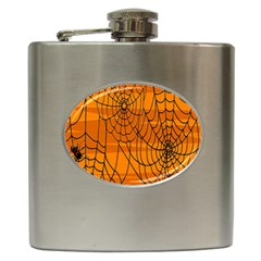 Vector Seamless Pattern With Spider Web On Orange Hip Flask (6 oz)