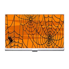Vector Seamless Pattern With Spider Web On Orange Business Card Holders