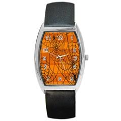 Vector Seamless Pattern With Spider Web On Orange Barrel Style Metal Watch