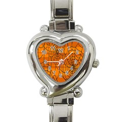 Vector Seamless Pattern With Spider Web On Orange Heart Italian Charm Watch