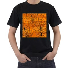 Vector Seamless Pattern With Spider Web On Orange Men s T Shirt (black) (two Sided)
