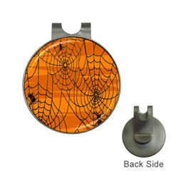 Vector Seamless Pattern With Spider Web On Orange Hat Clips With Golf Markers