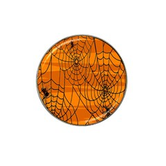 Vector Seamless Pattern With Spider Web On Orange Hat Clip Ball Marker (4 Pack)