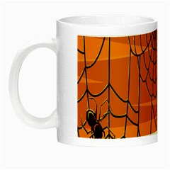 Vector Seamless Pattern With Spider Web On Orange Night Luminous Mugs