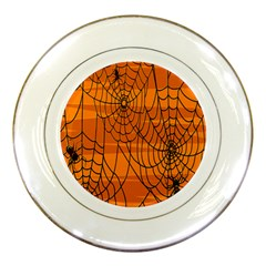 Vector Seamless Pattern With Spider Web On Orange Porcelain Plates