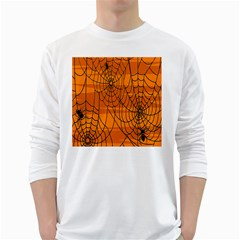 Vector Seamless Pattern With Spider Web On Orange White Long Sleeve T Shirts
