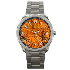 Vector Seamless Pattern With Spider Web On Orange Sport Metal Watch