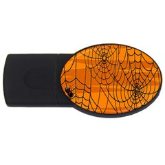 Vector Seamless Pattern With Spider Web On Orange Usb Flash Drive Oval (4 Gb)