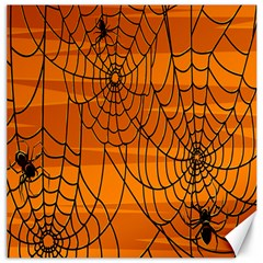 Vector Seamless Pattern With Spider Web On Orange Canvas 16  X 16