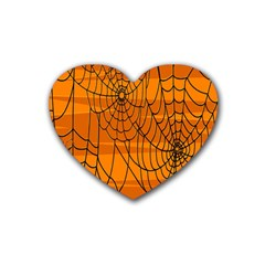 Vector Seamless Pattern With Spider Web On Orange Rubber Coaster (Heart)