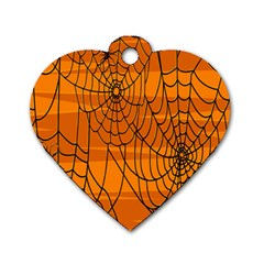 Vector Seamless Pattern With Spider Web On Orange Dog Tag Heart (two Sides)