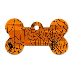 Vector Seamless Pattern With Spider Web On Orange Dog Tag Bone (one Side)
