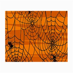 Vector Seamless Pattern With Spider Web On Orange Small Glasses Cloth (2-Side)