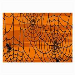 Vector Seamless Pattern With Spider Web On Orange Large Glasses Cloth (2-Side)