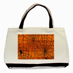 Vector Seamless Pattern With Spider Web On Orange Basic Tote Bag (two Sides)
