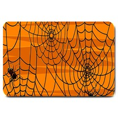 Vector Seamless Pattern With Spider Web On Orange Large Doormat