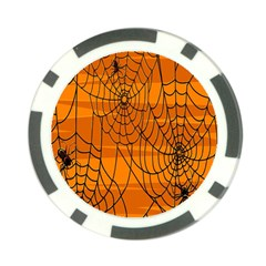 Vector Seamless Pattern With Spider Web On Orange Poker Chip Card Guard