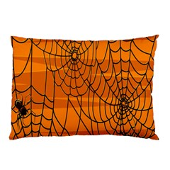 Vector Seamless Pattern With Spider Web On Orange Pillow Case