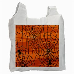 Vector Seamless Pattern With Spider Web On Orange Recycle Bag (One Side)