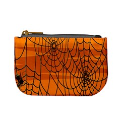 Vector Seamless Pattern With Spider Web On Orange Mini Coin Purses