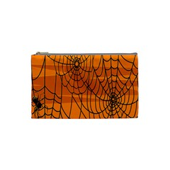 Vector Seamless Pattern With Spider Web On Orange Cosmetic Bag (Small)