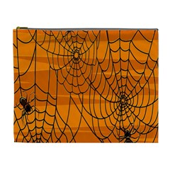 Vector Seamless Pattern With Spider Web On Orange Cosmetic Bag (XL)