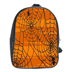 Vector Seamless Pattern With Spider Web On Orange School Bags(Large)