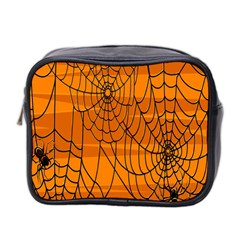 Vector Seamless Pattern With Spider Web On Orange Mini Toiletries Bag 2-Side
