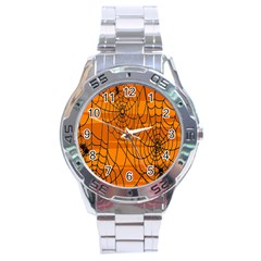 Vector Seamless Pattern With Spider Web On Orange Stainless Steel Analogue Watch