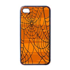 Vector Seamless Pattern With Spider Web On Orange Apple Iphone 4 Case (black)