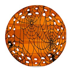 Vector Seamless Pattern With Spider Web On Orange Ornament (Round Filigree)
