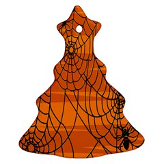 Vector Seamless Pattern With Spider Web On Orange Ornament (christmas Tree)