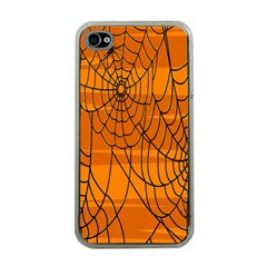 Vector Seamless Pattern With Spider Web On Orange Apple iPhone 4 Case (Clear)
