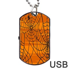 Vector Seamless Pattern With Spider Web On Orange Dog Tag USB Flash (One Side)