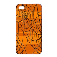Vector Seamless Pattern With Spider Web On Orange Apple iPhone 4/4s Seamless Case (Black)