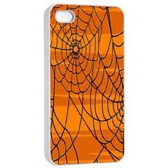 Vector Seamless Pattern With Spider Web On Orange Apple Iphone 4/4s Seamless Case (white)