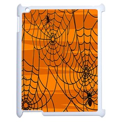 Vector Seamless Pattern With Spider Web On Orange Apple Ipad 2 Case (white)