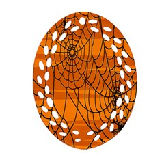 Vector Seamless Pattern With Spider Web On Orange Oval Filigree Ornament (Two Sides)