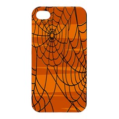 Vector Seamless Pattern With Spider Web On Orange Apple Iphone 4/4s Hardshell Case