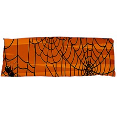 Vector Seamless Pattern With Spider Web On Orange Body Pillow Case Dakimakura (Two Sides)