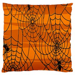 Vector Seamless Pattern With Spider Web On Orange Large Cushion Case (one Side)